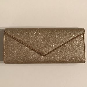 Aldo Gold Glitter Sparkle Envelope Clutch Purse